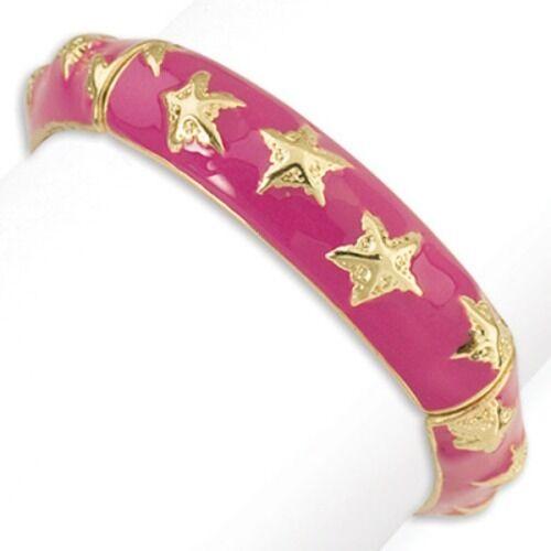 PERIWINKLE by BARLOW Pink Enamel Gold Starfish Stretch Bangle Bracelet New
