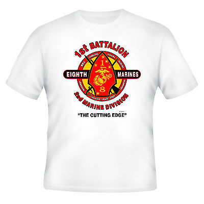 "1ST BATTALION* 8TH MARINES* 2ND MARINE DIVISION ""THE CUTTING EDGE"" UNIT SHIRT Y"