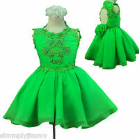Baby Girl National Glitz Pageant Flower Girl Party Lime Dress 1 2 3 4 5 6 7