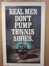 Vintage real men don't pump tennis shoes funny poster 12047