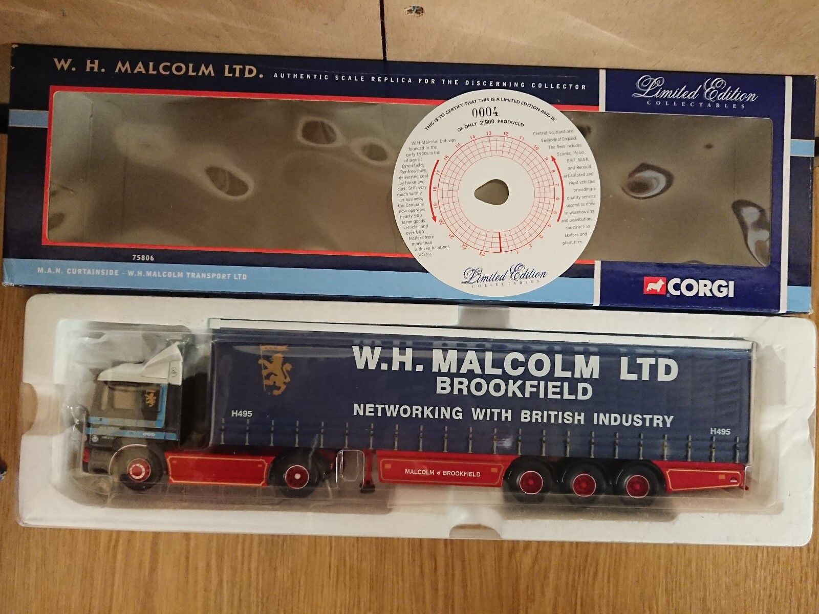 Corgi 75806 MAN Curtainside W.H. Malcolm Ltd Edition No. 0004 of 2900