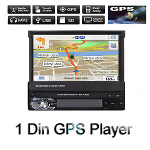 1DIN-Bluetooth-7-039-039-Car-Radio-Stereo-USB-SD-AUX-FM-Touch-Screen-Head-Unit-GPS-Map