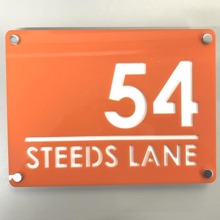 Large Rectangular House Number & Street Name Sign - orange & White Gloss Finish