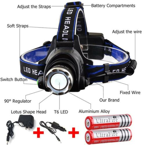 Head Light Lamp /& Charger /& 18650 Battery T6 LED Zoom Headlight Torch Headlamp
