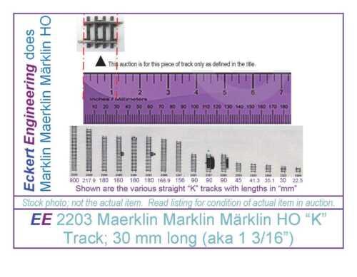 """aka 1 3//16"""" EE 2203 NEW Marklin Märklin 3 Rail """"K"""" Straight Track; 30 mm Long"""