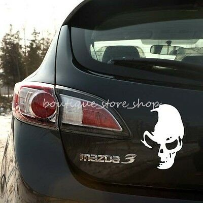 White Skull Ghost Rear Side Door Reflective Car Truck Stickers Wall Decals