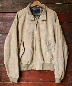 in Bomber Vtg Ralph Lauren marrone Harrington scamosciata pelle Polo xl L UUXTSw