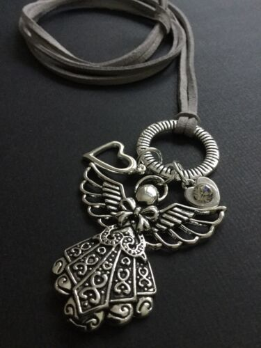 Long GREY Suede Necklace With A BIG ANGEL Pendant HEARTS Hoop And Crystal Boho