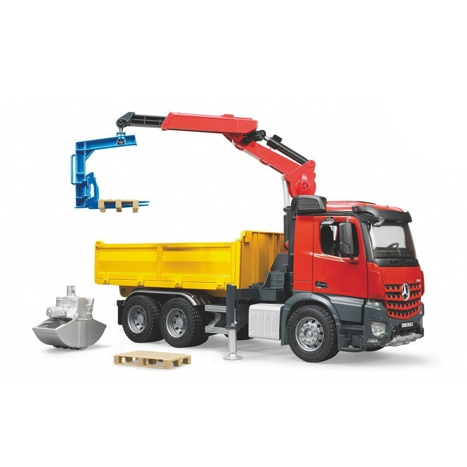 BRUDER Kinder Spielzeug Baustelle Auto Mercedes Benz Arocs LKW mit Kran / 03651