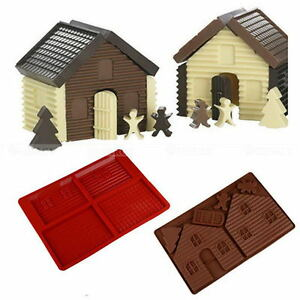 Silicone-Cake-Mold-Christmas-3D-Fondant-Cookie-Gingerbread-House-Chocolate-Mold