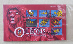 2017-NEW-ZEALAND-RUGBY-BRITISH-LIONS-TOUR-7-STAMPS-FDC-FIRST-DAY-COVER