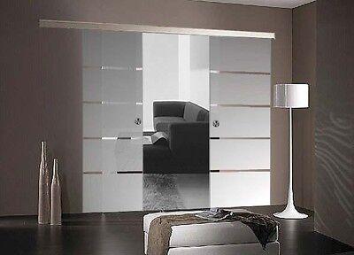 Doppel Glasschiebetür matt + Streifen 2x 775x2050mm Griffmuschel BP1775+DPL