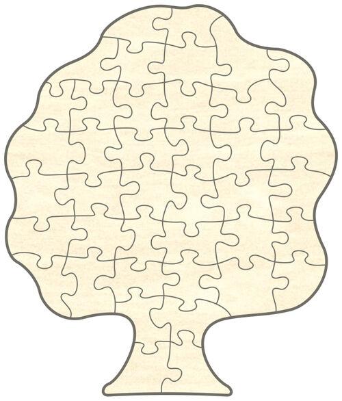 Blanko Holz-Puzzle Baum, 40Teile, 39x46 cm, zum Selbst Bemalen und Gestalten