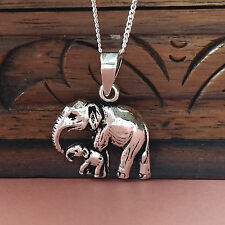 925 Sterling Silver Necklace with Elephant & baby family pendant gift uk