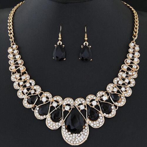 Fashion Crystal Rhinestone Water Drop Pendant Necklace Earring Women Jewelry T