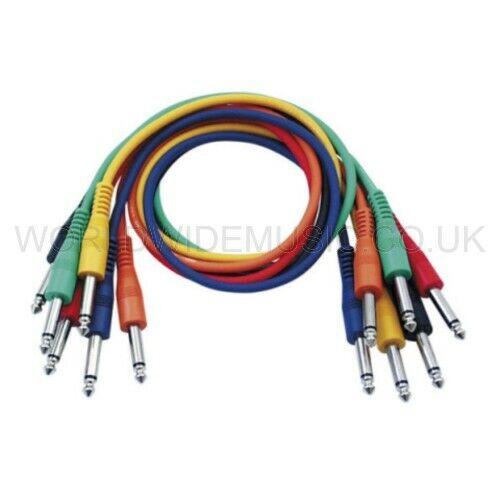 Patch cables 60cm long DAP Audio FL1160 A pack of 6 Mono Jack Patch Leads