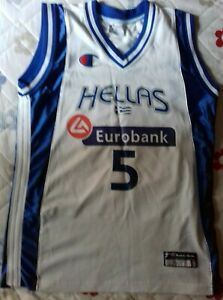 huge discount 73565 e9dab Details about GREEK HELLAS NATIONAL BASKETBALL TEAM JERSEY SHIRT 100%  AUTHENTIC MEDIUM 2011