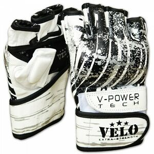 VELO-Grappling-Gloves-Leather-Gel-MMA-UFC-Fight-Boxing-Punch-Bag-Muay-Thai-White