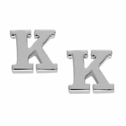 Sterling Silver Letter Initial /'K/' Alphabet Stud Earrings