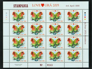 2005-DX243-STAMPANIA-EXHIBITION-LOVE-GRA-PARROTS-BIRDS-SHEETLET-SCARCE