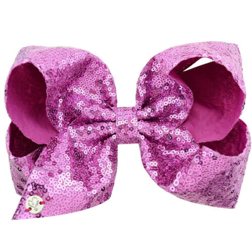 8 Inch Glitter JOJO Girl Bows Hair Bow with Alligator Clip Large Ribbon Hairpin