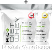2 X 1kg = 2kg Phd Nutrition Diet Whey Protein Weight Loss Lean Slimming Shake