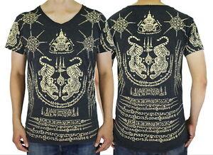 Muay-Thai-Tattoo-5-Lines-Rahu-Tiger-Sak-Yant-Mma-Yantra-WK06-Men-T-Shirt-M-L-XL