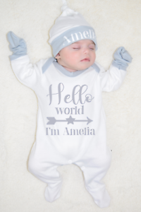Personalised Hello World Organic Babygrow Hat and Mitts Hospital Outfit New Baby