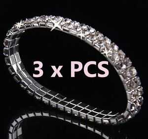 2-Row-x-3-Pieces-AB-Austrian-Crystal-Sparkle-Rhinestone-Bangle-Stretch-Bracelets
