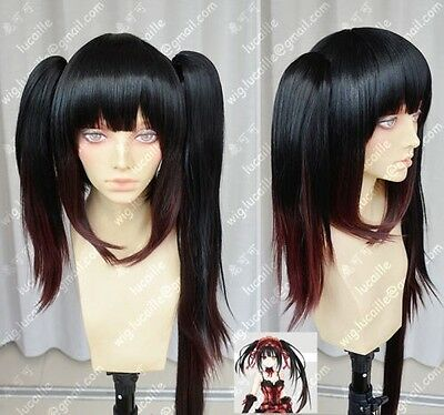 cosplay wig Date A Live Tokisaki Kurumi Black Gradient Lolita  Party Wigs