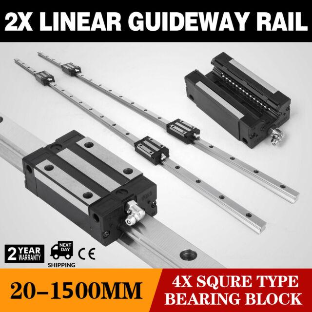 SBR20-1000mm 2xLinear Rail Set 4x Bearing Block 20mm smooth sliding Shaft Rod