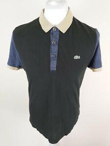 Para-Hombres-Camisa-Polo-Lacoste-Negro-Talla-4-Mediana-Grande-Slim-Fit-40-bolsillos