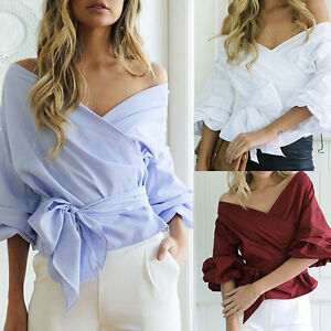 Women-Bardot-Top-Ruffle-Sleeve-Waist-Tie-Cross-Off-Shoulder-Shirt-V-neck-Blouse