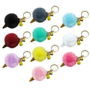 PM-Fashion-Ice-Cream-Shape-Tassel-Heart-Bell-Plush-Key-Chain-Key-Ring-Car-Pen
