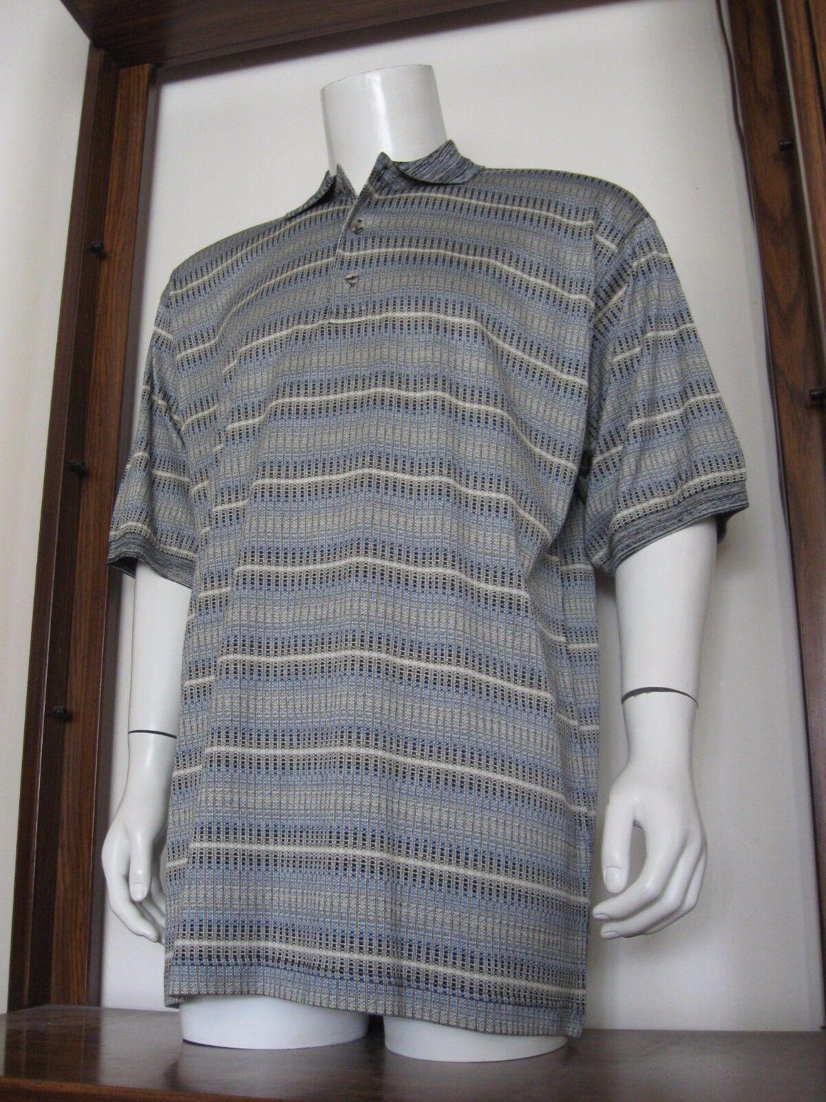 L Men Gianni Sport Polo Shirt Woven Beige bluee Geo Italian Cotton large EuC
