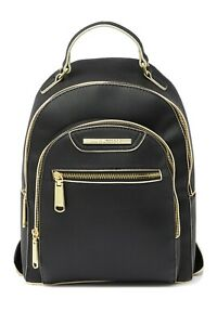 Steve-Madden-Bakima-Adjustable-Backpack-Purse-Black-White-Gold-Accents