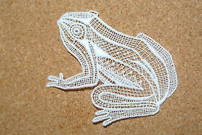 Lace motif - Animals - Frog - applique/sew on trim/craft/card making