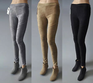 Details about Womens Faux Suede Cashmere Leggings Stretch Skinny Pants MOTO Style Trousers
