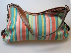 Image Is Loading Fossil Striped Multi Color Fabric Cloth Faux Leather