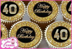 24 x 40TH HAPPY BIRTHDAY BLACK GOLD EDIBLE CUPCAKE TOPPERS RICE
