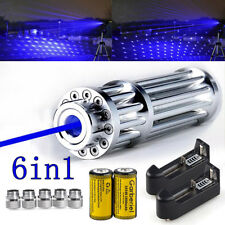 Us 405nm Blue Laser Pointer Visible Beam Light Lazer Pen Amp5 Caps 16340 Battery