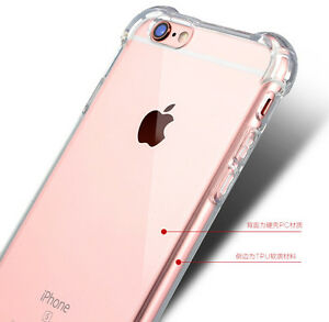 more photos 66f0b badb6 Details about Hybrid Rubber Shockproof TPU Clear Back Cover Case for Apple  iPhone 6 6s Plus