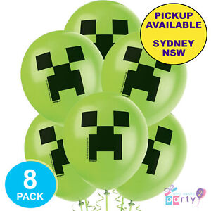 MINECRAFT-GAMING-PARTY-SUPPLIES-8-LATEX-BALLOONS-VIDEO-GAME-BIRTHDAY-DECORATIONS