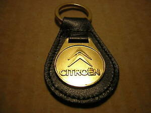 CITROEN KEY RING LEATHER SOLID BRASS FOB + 1 FREE