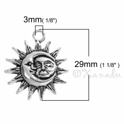 Sun And Moon Antiqued Silver Plated Charm Pendants C4672-2 5 Or 10PCs