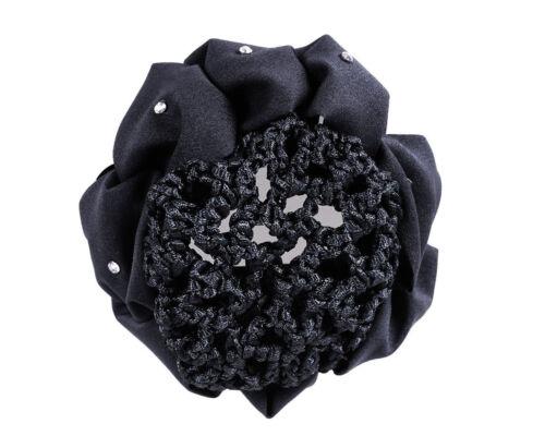 QHP Haarschleife Flower Haarnetz elastisch Universalgröße Strass diverse Farben