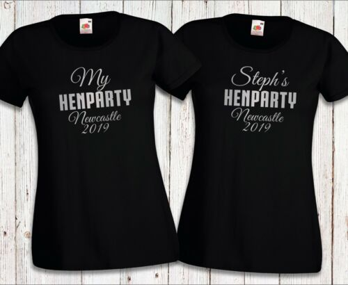 Personalised Silver Hen Party t-shirt tshirts Custom Name Place Wedding Party