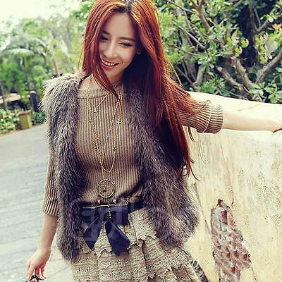 Women Faux Fur Shaggy Vest Sleeveless Long Hair Short Jacket Outerwear Waistcoat
