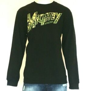 Mighty-Healthy-Horticulture-Crew-Neck-Jumper-Men-039-s-Black-Urban-Bargain-Price