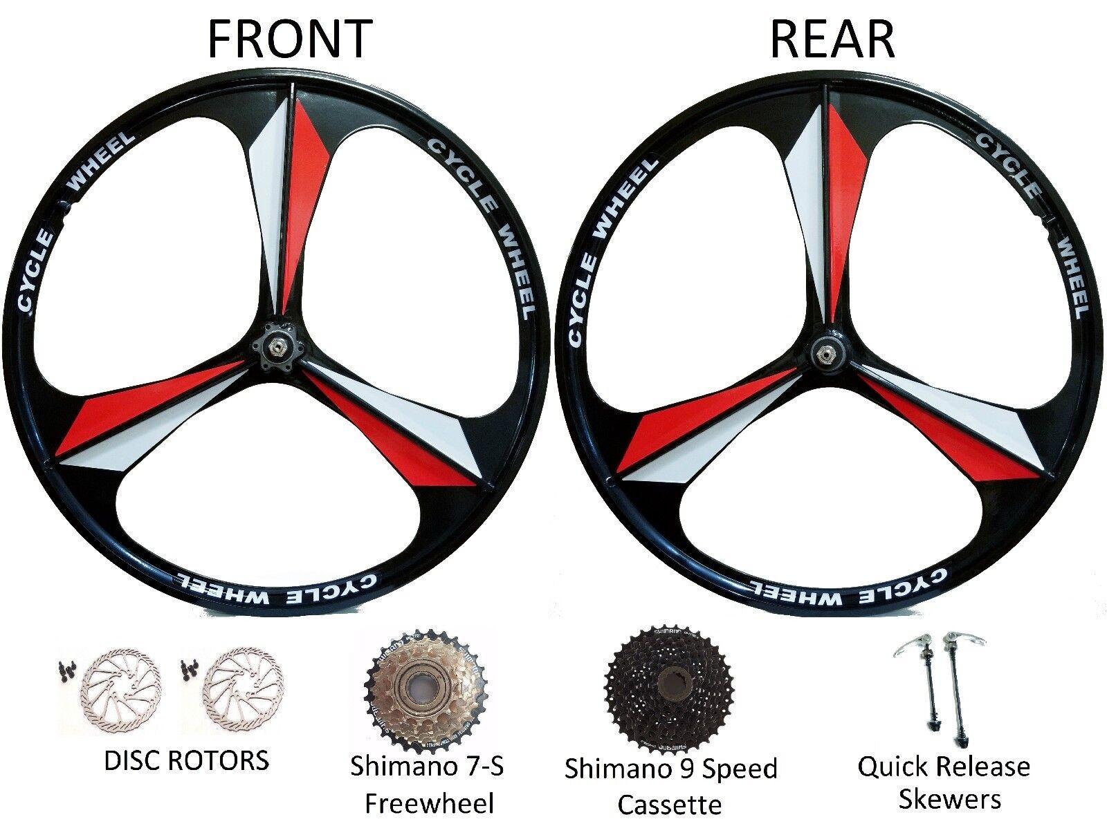 26  MTB Bike 3-Spoke Mag Magnesium Wheels Rim Wheelset 6 7 8 9 Speed Gears Disc
